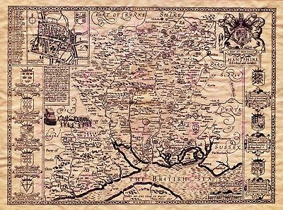 Map Antique Speed 1610 Hampshire County Old Large Replica Canvas Art Print