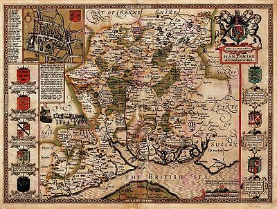 Map Antique Speed 1611 Hampshire County Old Large Replica Canvas Art Print