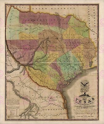 Map Antique Tanner 1837 Texas Old Historic Large Replica Canvas Art Print