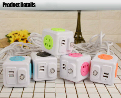 Extended Power Cube Socket Strip AU Plug 4 Outlet + 2 USB Ports Charger Adapter