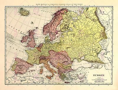 Map Antique Mcnally 1898 Europe Old Historic Large Replica Canvas Art Print