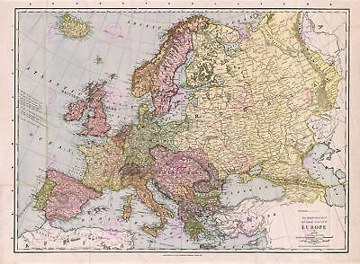 Map Antique Mcnally 1912 Europe Old Historic Large Replica Canvas Art Print