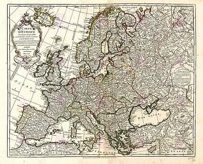 Map Antique L'isle 1769 Europe Old Historic Large Replica Canvas Art Print