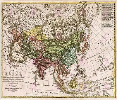 Map Antique Gussefeld 1805 Asia Old Historic Large Replica Canvas Art Print