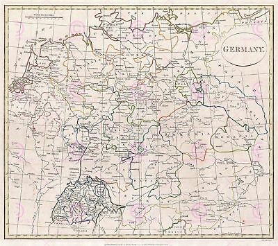 Map Antique Cruttwell 1799 Germany Historic Large Replica Canvas Art Print