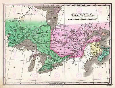 Map Antique Finley 1827 Canada Old Historic Large Replica Canvas Art Print