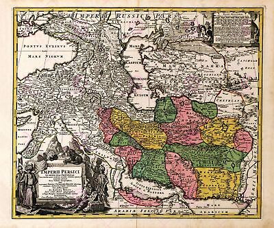 Map Antique Homann 1724 Persia Old Historic Large Replica Canvas Art Print