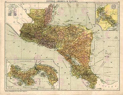 Map Antique Gross 1920 Central America Old Large Replica Canvas Art Print