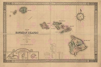 Map Antique Giles 1876 Hawaii Old Historic Large Replica Canvas Art Print