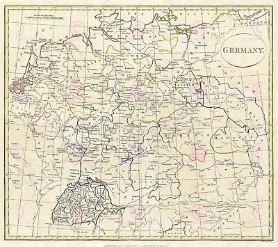 Map Cruttwell 1799 Germany Switzerland Large Canvas Art Print