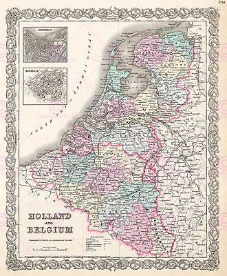 Map Antique Colton 1855 Holland Belgium Old Large Replica Canvas Art Print