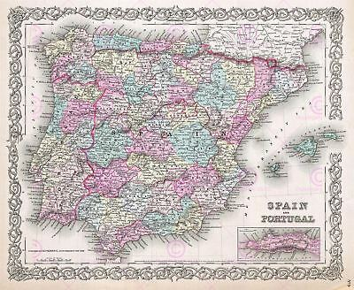 Map Antique Colton 1855 Spain Portugal Old Large Replica Canvas Art Print