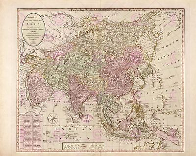 Map Antique Bowles 1791 Asia Old Historic Large Replica Canvas Art Print