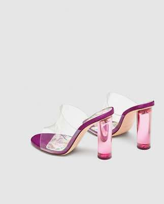 fc75f503df3 ZARA VINYL MULES With Methacrylate Clear Heel Fuchsia Sz 6 New ...