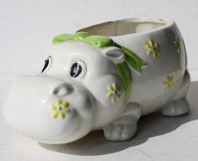 Hippopotamus Figure Planter Ceramic-Porcelain Made in Japan Hand Painted-Vintage