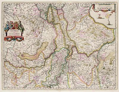 Map Antique Blaeu Gelderland Old Historic Large Replica Canvas Art Print
