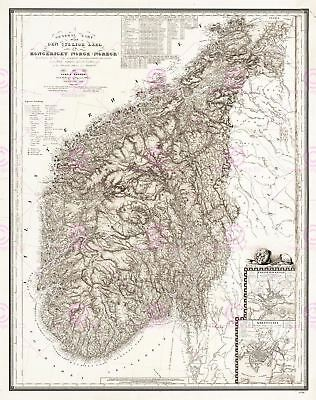 Map Antique 1848 Roosen South Norway Historic Large Replica Canvas Art Print