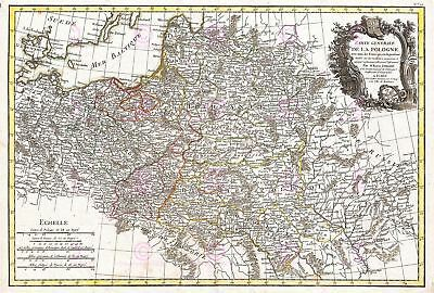 Map Antique 1771 Zannoni Poland Lithuania Old Large Replica Canvas Art Print