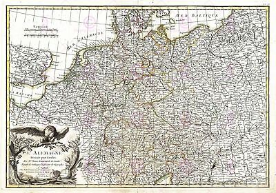 Map Antique 1771 Zannoni Germany Old Historic Large Replica Canvas Art Print