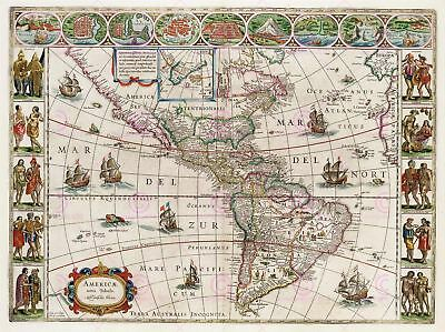 Map Antique 1665 Blaeu Americas Old Historic Large Replica Canvas Art Print