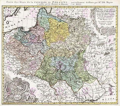 Map Antique 1750 Homann Poland Old Historic Large Replica Canvas Art Print