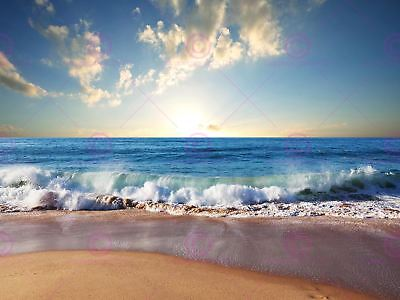 Photograph Seascape Beach Sand Ocean Surf Waves Picture Canvas Art Print