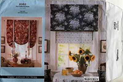 Waverly Sewing Pattern Vogue for Living 2082 Window  Roman Shades Valance Home