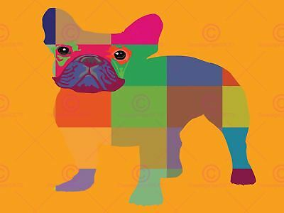 Painting Abstract French Bulldog Portrait Canvas Art Print