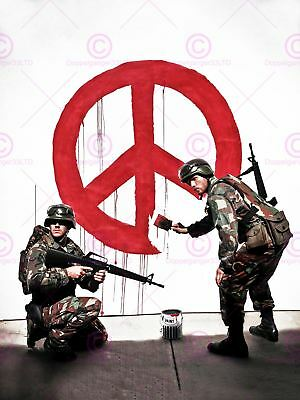 Photography Graffiti Street Banksy Soldiers Painting Peace Sign Canvas Art Print