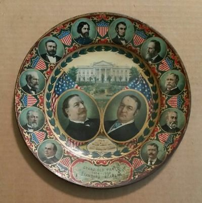 Spectacular Vintage 1908 President William H. Taft & Sherman GOP Tin Tray Plate