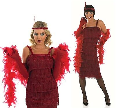 Ladies Red 1920s Gatsby Flapper Fancy Dress Costume Outfit UK 24-26 Plus Size