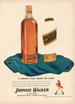 1942 Johnny Walker Black Label Scotch Whisky Vintage Original Laminated Ad Art