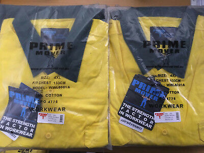 2x PRIME MOVER WORK WEAR Mens 4XL 3M Reflective Button Shirt WWL8001A FREE POST