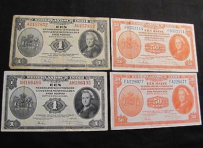 Lot of 4 Netherlands Indies Notes - 2x 1943 1 Gulden, 2x 1943 50 Cents