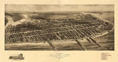 Map Aerial Birds Eye View Atlantic City New Jersey 1909 Canvas Art Print