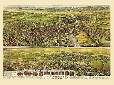 Map Los Angeles California 1894 Picture Canvas Art Print
