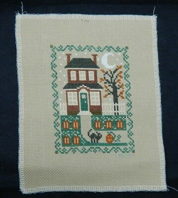 Needle Point of House, Yard, Cat and Halloween Theme with a Machine Sewn Edge 3
