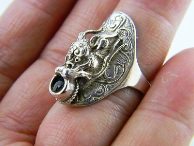 Antique Solid Sterling Silver 3-Dimensional Chinese Dragon Ring, sz 7-7.5
