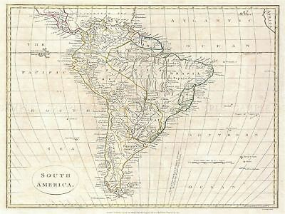 1799 Clement Cruttwell Map South America Vintage Picture Canvas Art Print