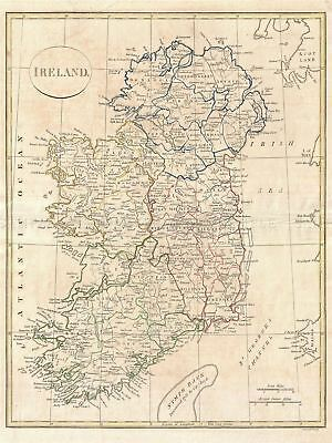 1799 Clement Cruttwell Map Ireland Vintage Repro Canvas Art Print
