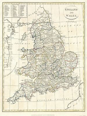 1799 Clement Cruttwell Map England Vintage Repro Canvas Art Print