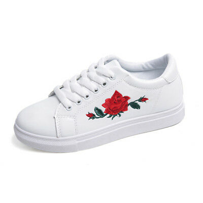 Women Shoes Embroidery Chic Casual Sneakers Floral Vintage Style B