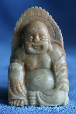 Lovely Vintage Antique Hand Carved Chinese Soapstone Happy Buddha Carving Figure