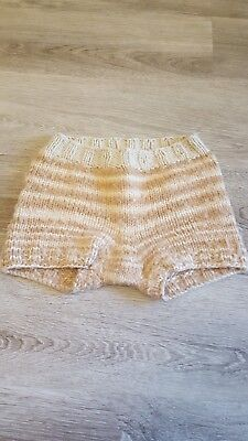 Wool diaper cover - merino wool tan and ivory tight knit size M/L
