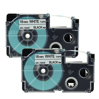 2PK Compatible Casio XR-18WE Black on White 18mm Label Tapes 3/4''  Label Print