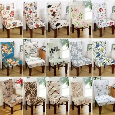 UK Removable Elastic Stretch Slipcover Short Dining Room Chair Seat Cover Décor