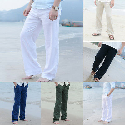 Mens Casual Loose Linen Waist Trousers Beach Pants Summer Yoga Long Slacks US