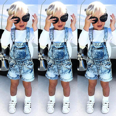 Kids Baby Girls Boys Denim Bib Shorts Pants Romper Playsuit Overalls Clothes AU