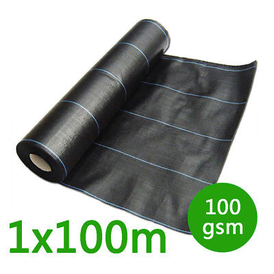 1m wide 100gsm weed control fabric ground cover membrane landscape mulch garden