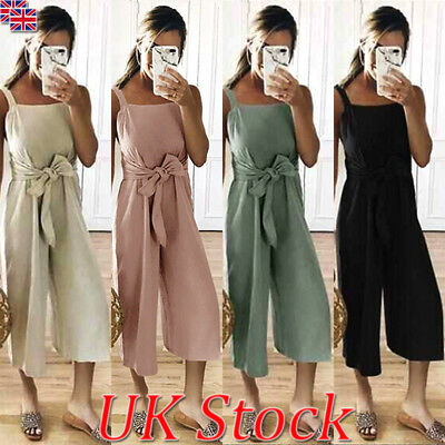 UK Womens Wide Leg Ninth Trousers Strappy Belt Jumpsuits Playsuit Culottes 6-18